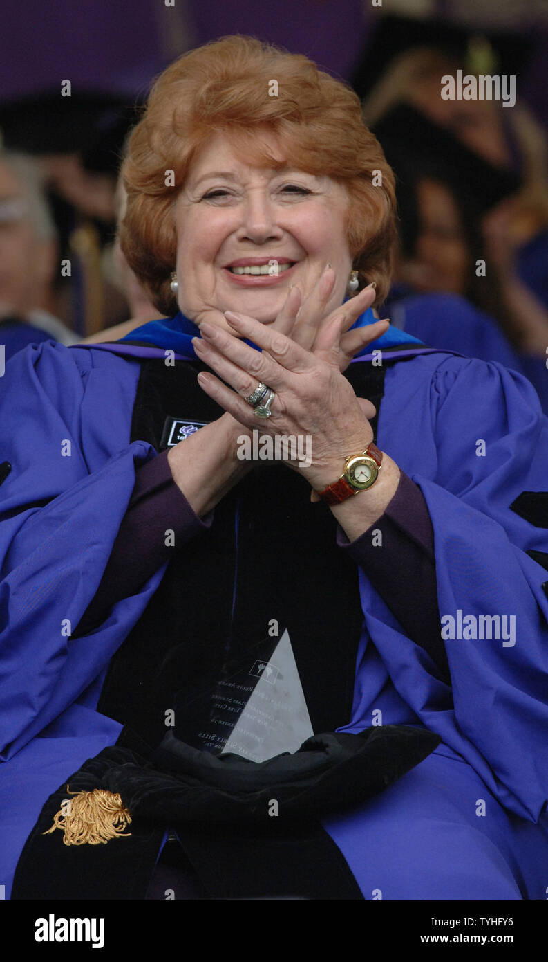 Opera singer Beverly Sills smiles after receiving a honorary degree during New York University graduation ceremonies in Washington Square Park on May 11, 2006. (UPI Photo/Ezio Petersen) - Stock Image