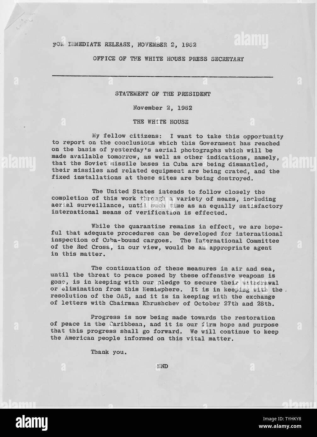 Removal of Missiles in Cuba November 11, 1962; Scope and content:  President John F. Kennedy's address to the nation on the Soviet's agreement to remove nuclear missiles from Cuba. - Stock Image