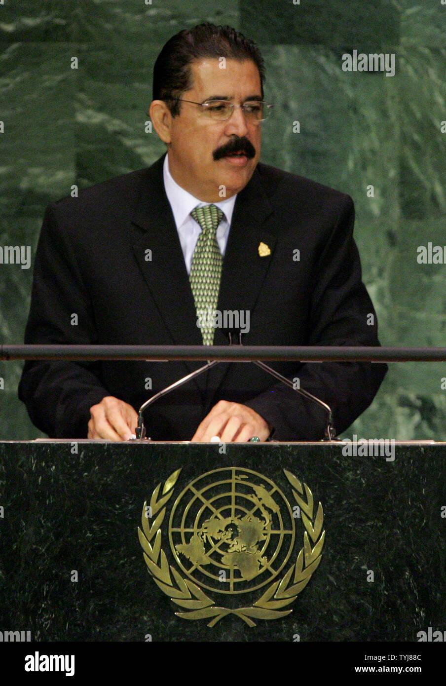 Honduras President Manuel Zelaya Rosales addresses the 62nd General Assembly at the United Nations on September 25, 2007 in New York City. (UPI Photo/Monika Graff) Stock Photo