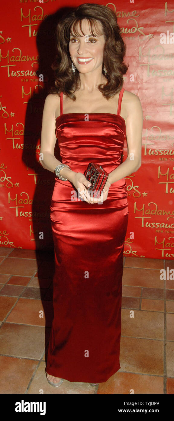 """The wax figure of actress Susan Lucci of the TV soap series """"All My Children"""" is unveiled at Madame Tussauds in New York on February 12, 2008.   (UPI Photo/Ezio Petersen) Stock Photo"""