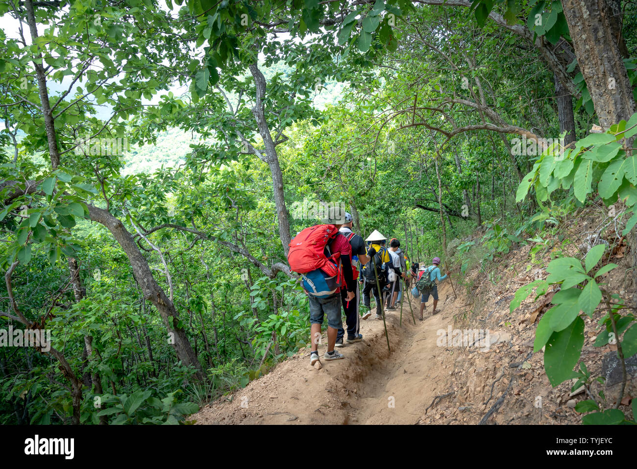 A group of travelers take the trekking trails along Ta Nang-Phan Dung route through grass hills and forests in Song Mao Nature Reserve - Stock Image