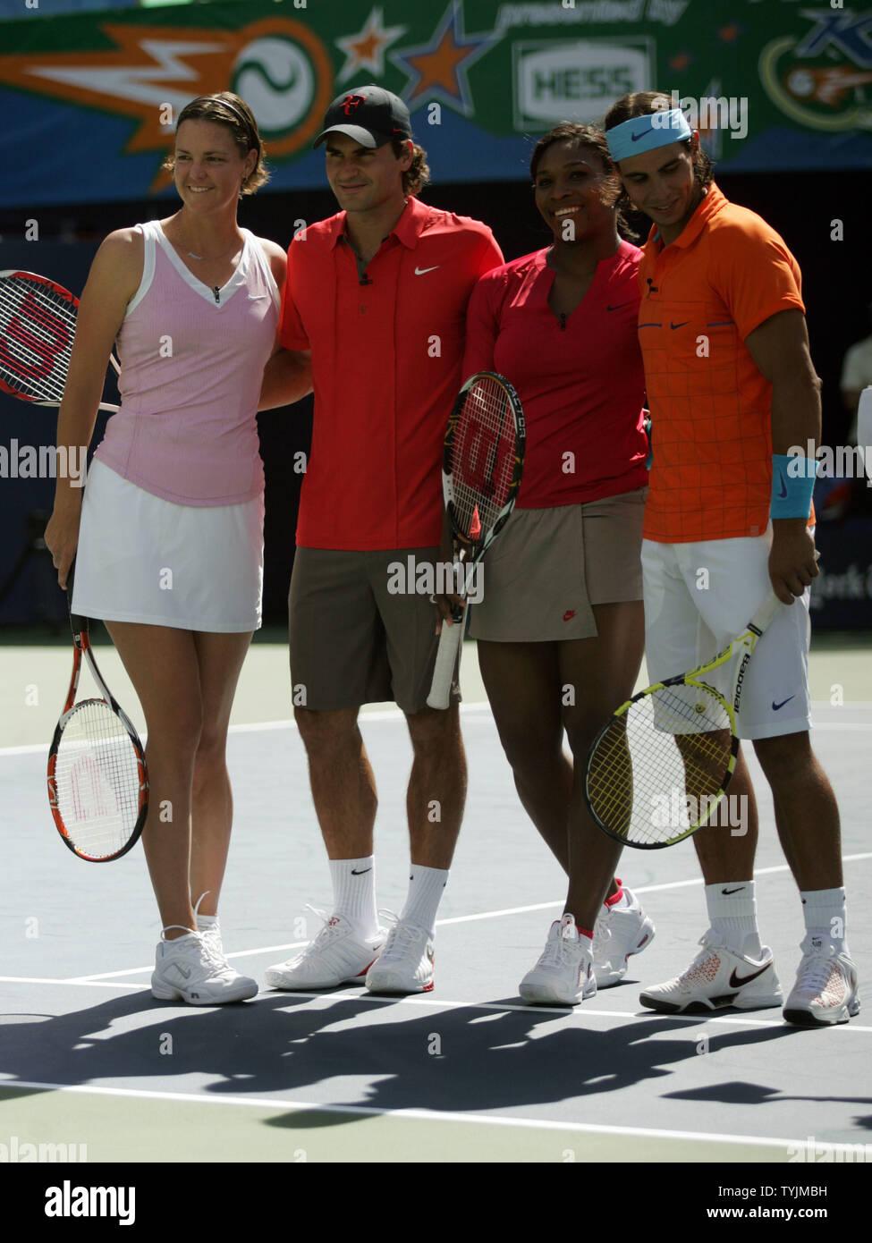 L R Lindsay Davenport Roger Federer Serena Williams And Rafael Nadal Take Part In The Arthur Ashe Kids Day At The Usta Billie Jean King National Tennis Center In New York On August