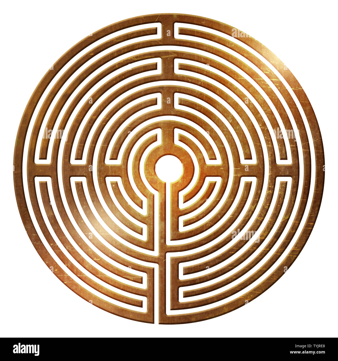 labyrinth spiral life way center fate ur symbol dead end - Stock Image