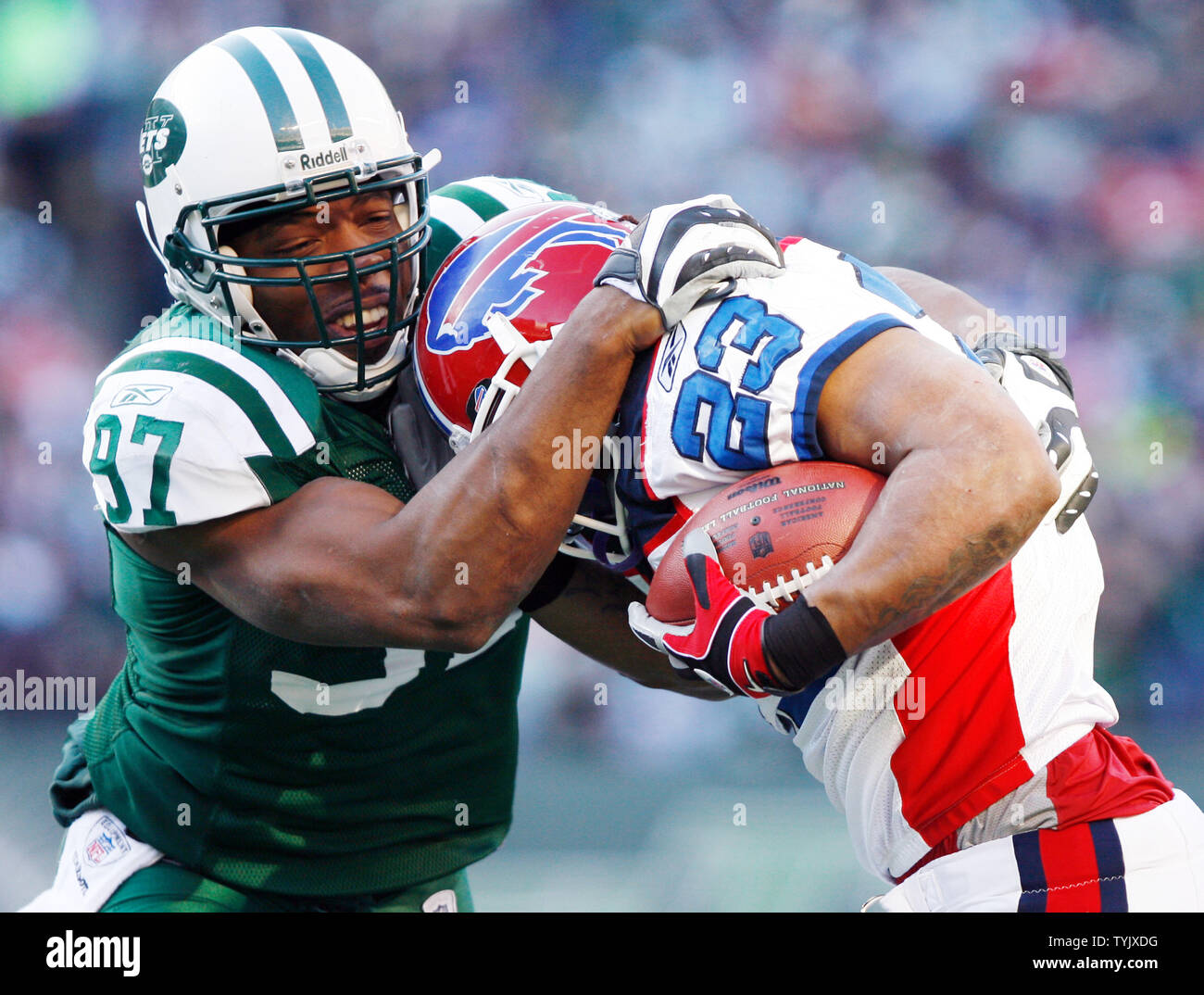 low priced 6dda4 6597a New York Jets Calvin Pace (97) tries to bring down Buffalo ...