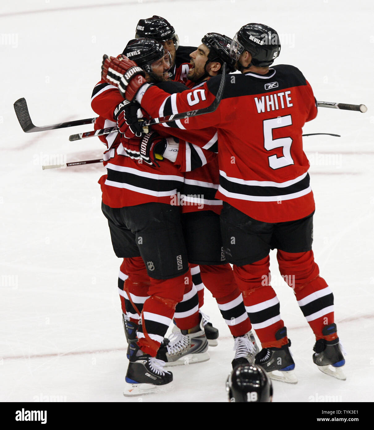 new concept 459a5 2597e New Jersey Devils Colin White and Jay Pandolfo react after ...