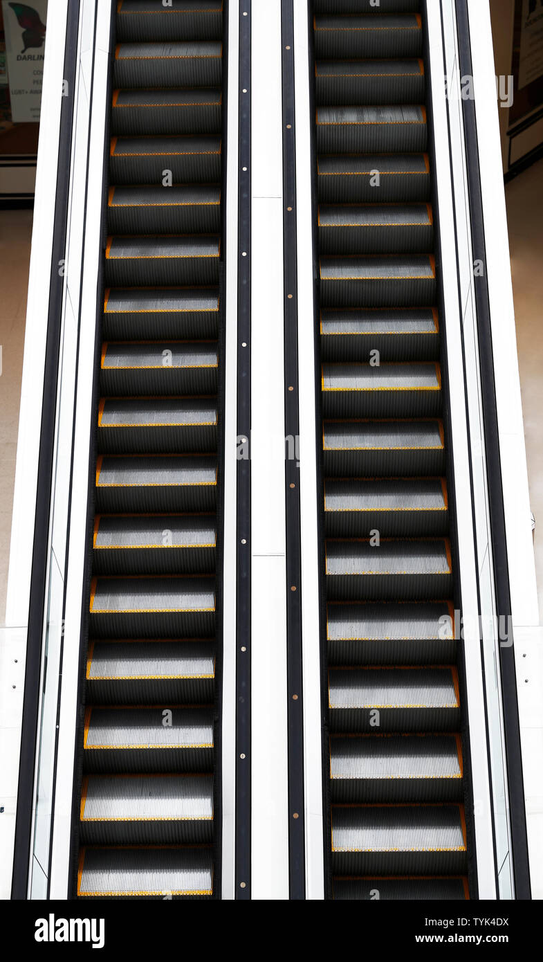 An Escalator in a store - Stock Image