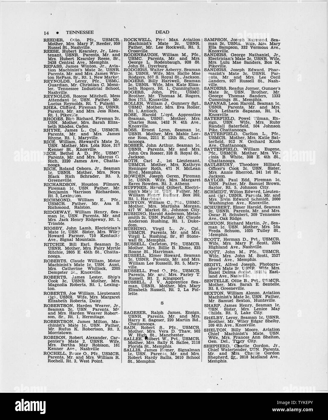 State Summary of War Casualties from World War II for Navy, Marine Corps, and Coast Guard Personnel from Tennessee; Scope and content:  This list identifies those men on active duty with the United States Navy, Marine Corps and Coast Guard, whose deaths resulted directly from enemy action or from operational activities against the enemy in war zones from December 7, 1941, to the end of World War II. Casualties which occurred in the United States, or as a result of disease, homicide, or suicide anywhere are not included. Entries in the list are arranged into the following sections: Dead (Combat - Stock Image