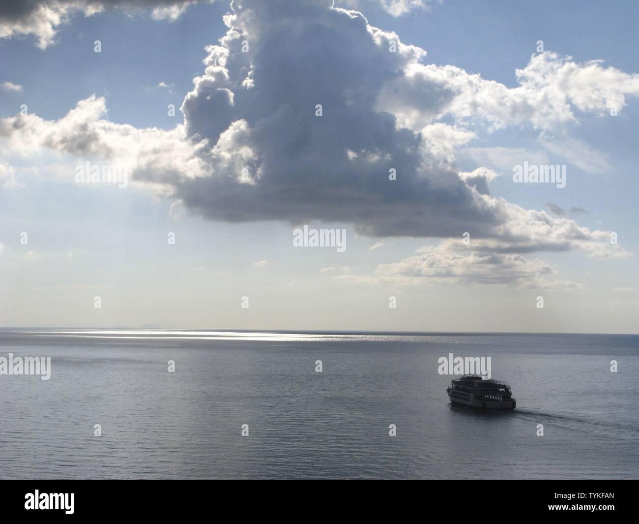 Early morning ferryboat. Libyian Sea, South Crete, Greece Stock Photo