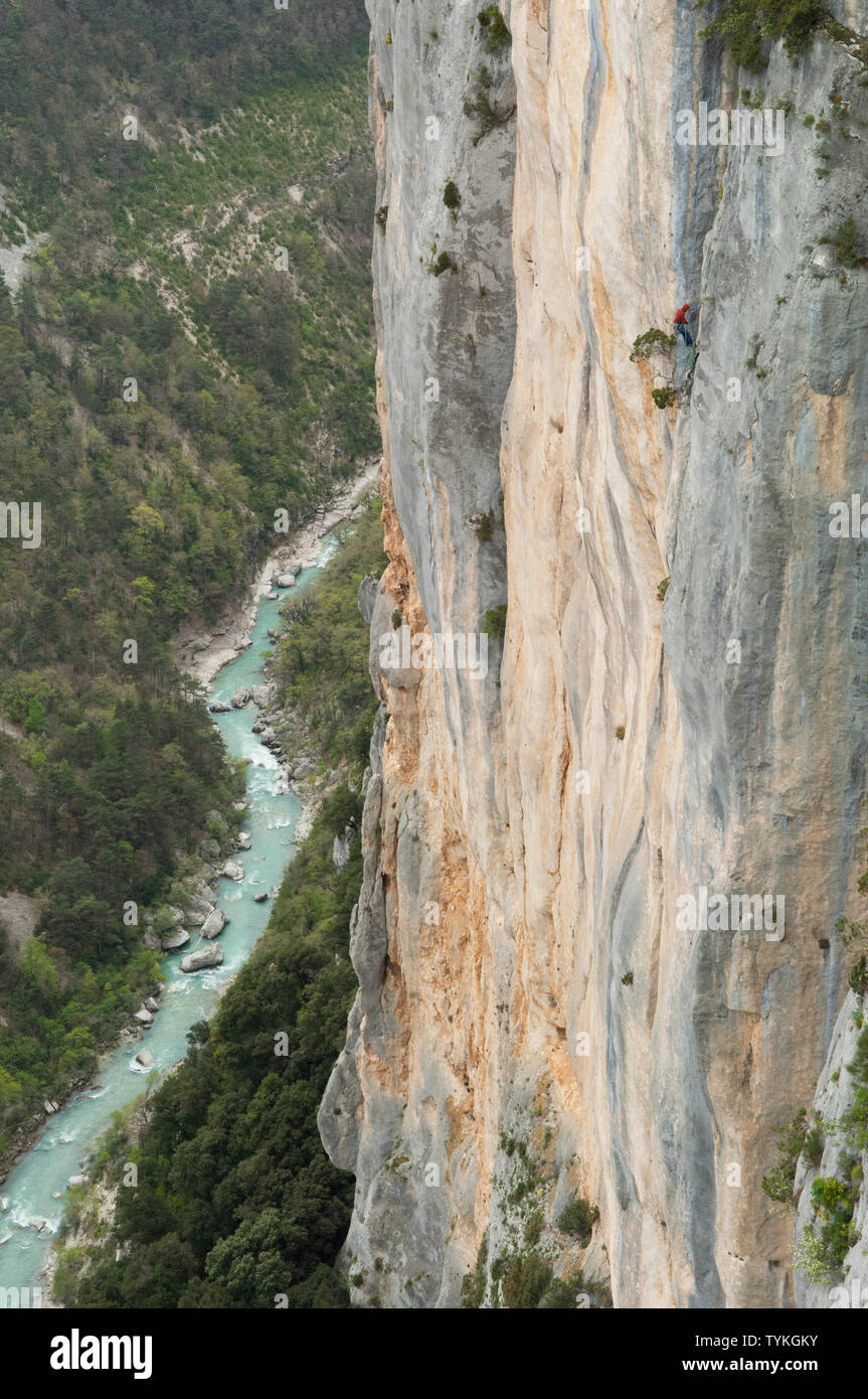 Climber on a rockface at the Gorges du Verdon - Provence, France. Stock Photo