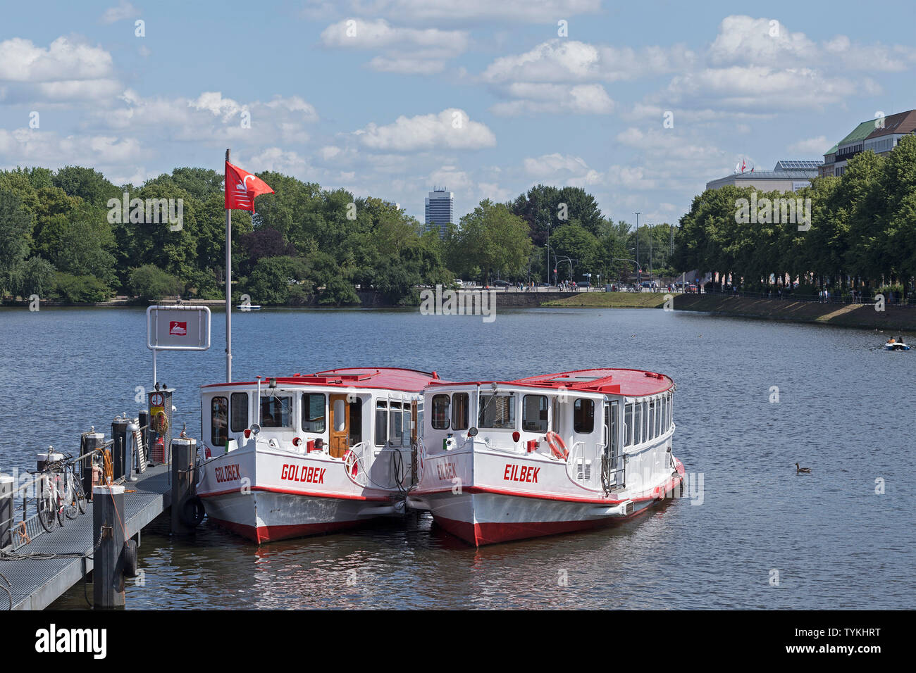 excursion boats, Inner Alster, Hamburg, Germany - Stock Image