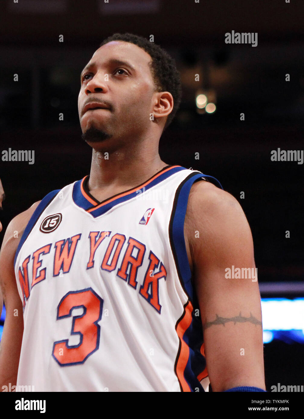 the best attitude 437b2 d5bef New York Knicks Tracy McGrady reacts after a change of ...