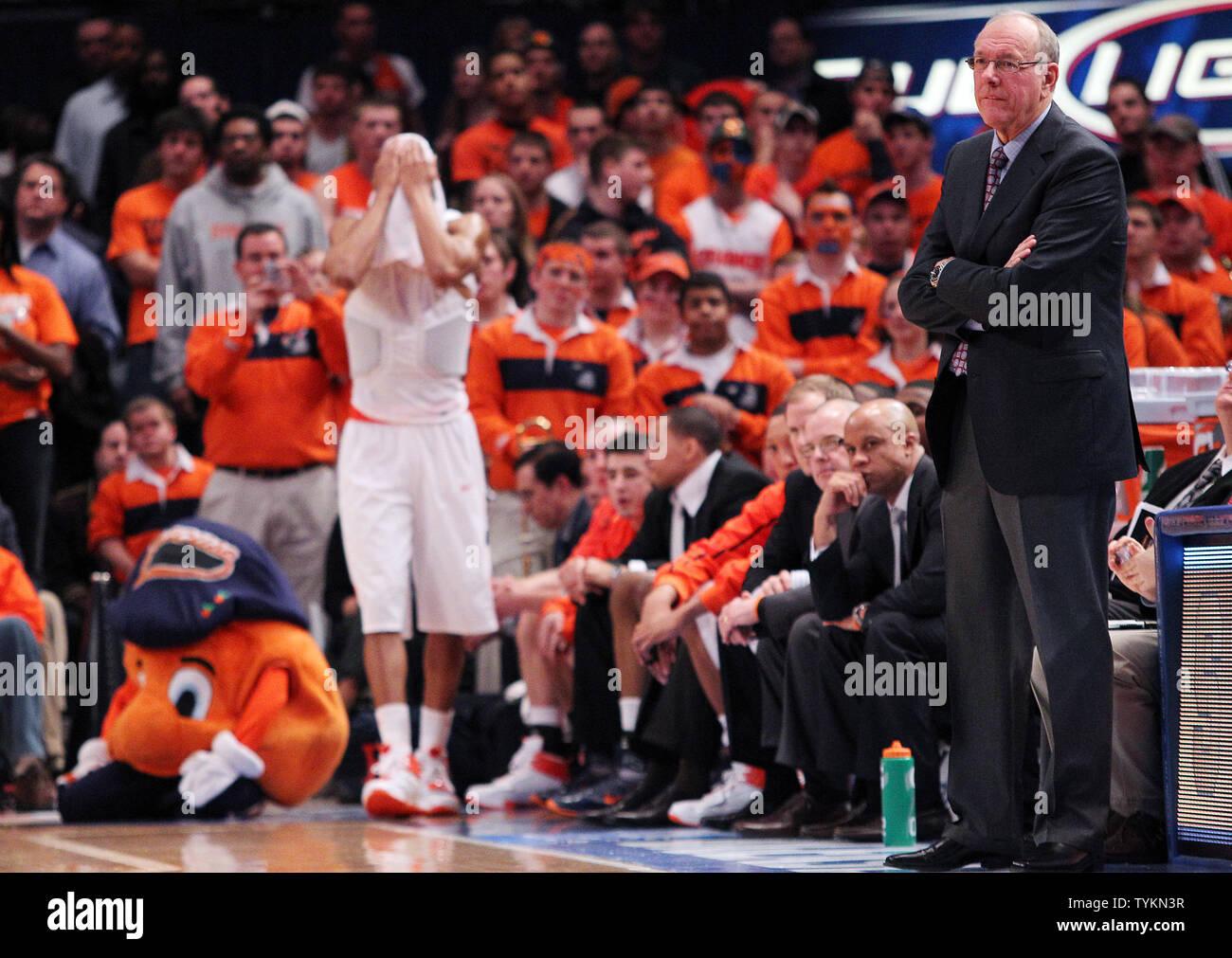 Syracuse Orange Head Coach Jim Boeheim Stands Near The Bench