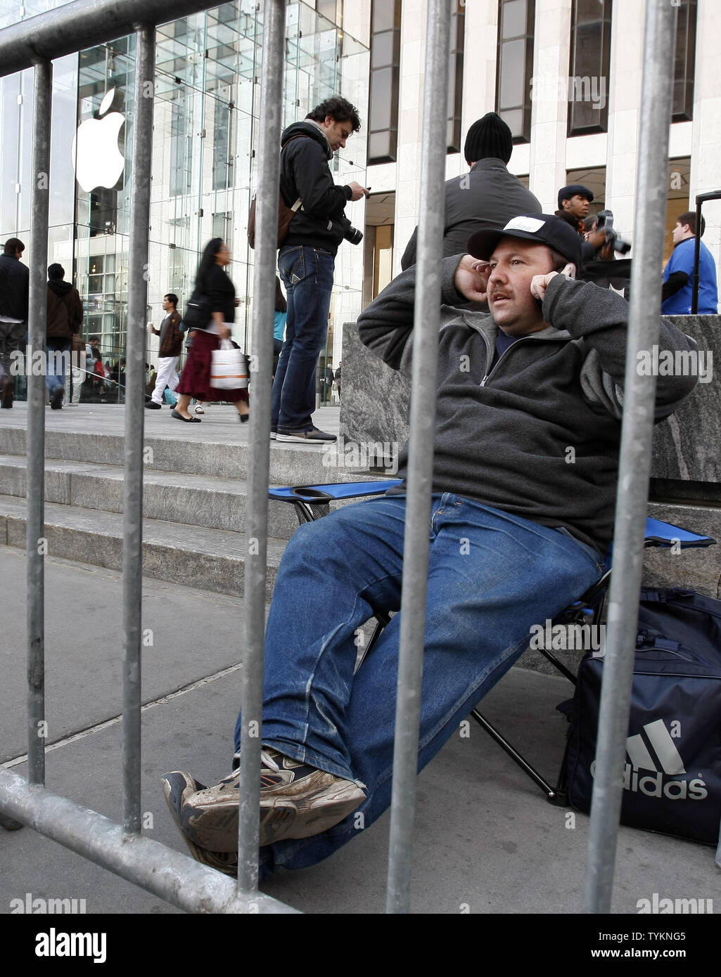 Greg Packer of Huntington NY is first on line at the Apple Store on