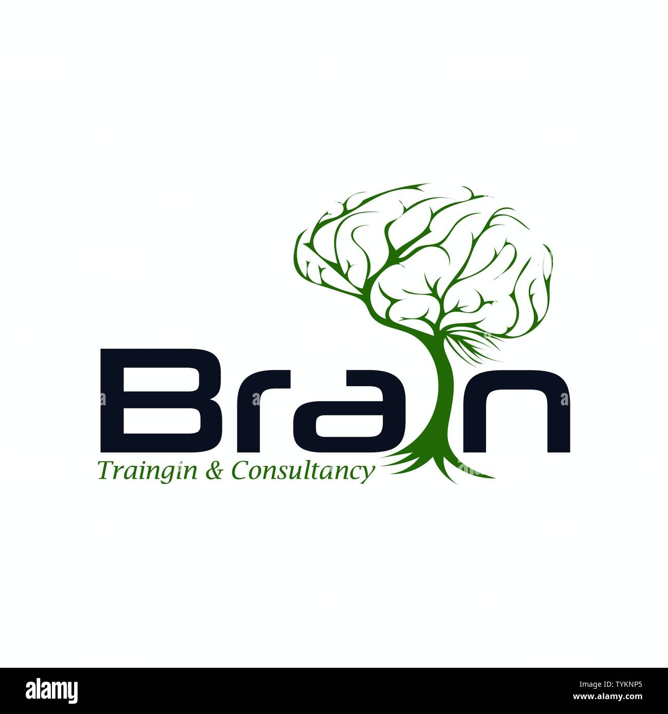 Human brain with leaf logo template - Stock Image