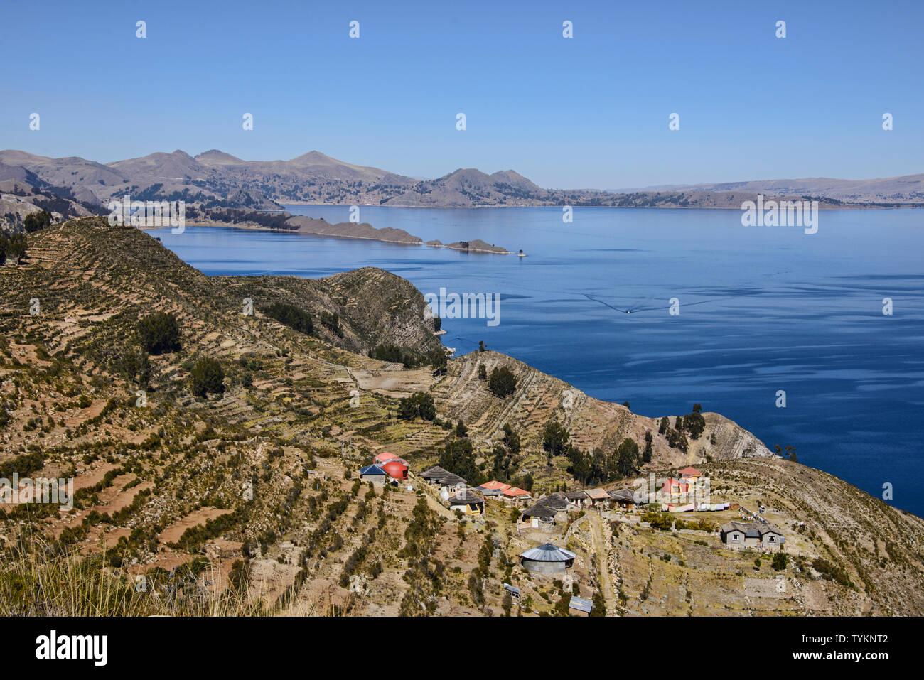 Traditional Inca terracing on Isla del Sol, Lake Titicaca, Bolivia Stock Photo