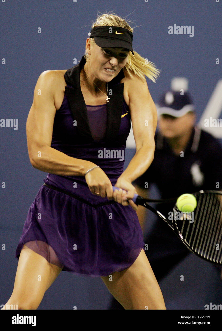 Maria Sharapova of Russia returns the ball to Iveta Benesova of the Czech Republic during second-round action at the U.S. Open held at the National Tennis Center on September 2, 2010 in New York.     UPI Photo/Monika Graff... - Stock Image