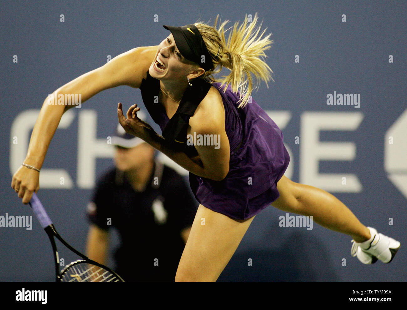 Maria Sharapova of Russia serves to Iveta Benesova of the Czech Republic during second-round action at the U.S. Open held at the National Tennis Center on September 2, 2010 in New York.     UPI Photo/Monika Graff... - Stock Image