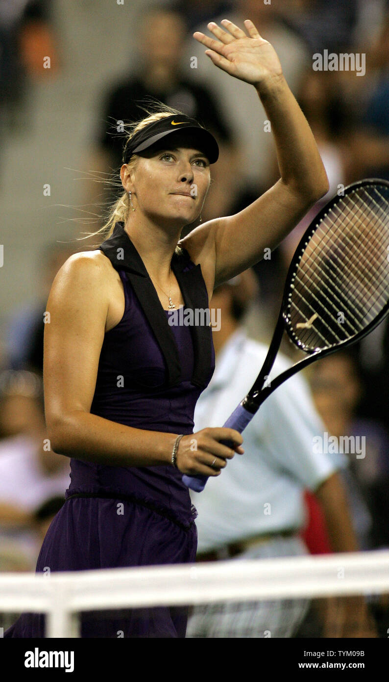 Maria Sharapova of Russia waves to fans after defeating Iveta Benesova of the Czech Republic in two straight sets during second-round action at the U.S. Open held at the National Tennis Center on September 2, 2010 in New York.     UPI Photo/Monika Graff... - Stock Image