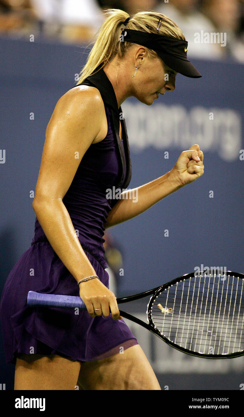 Maria Sharapova of Russia reacts as she wins a set against Iveta Benesova of the Czech Republic during second-round action at the U.S. Open held at the National Tennis Center on September 2, 2010 in New York.     UPI Photo/Monika Graff... - Stock Image