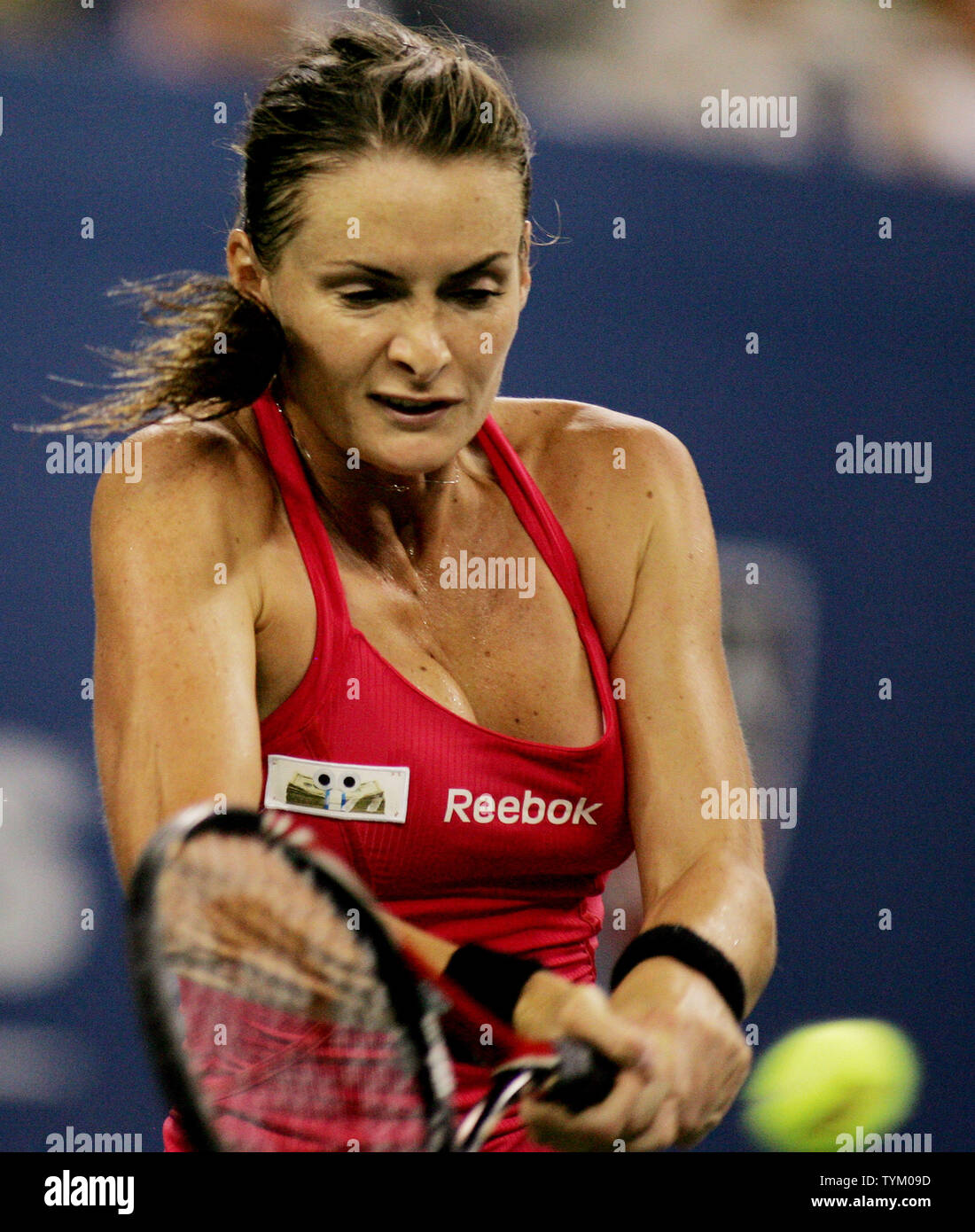 Iveta Benesova of the Czech Republic returns the ball to Maria Sharapova of Russia during second-round action at the U.S. Open held at the National Tennis Center on September 2, 2010 in New York.     UPI Photo/Monika Graff... - Stock Image