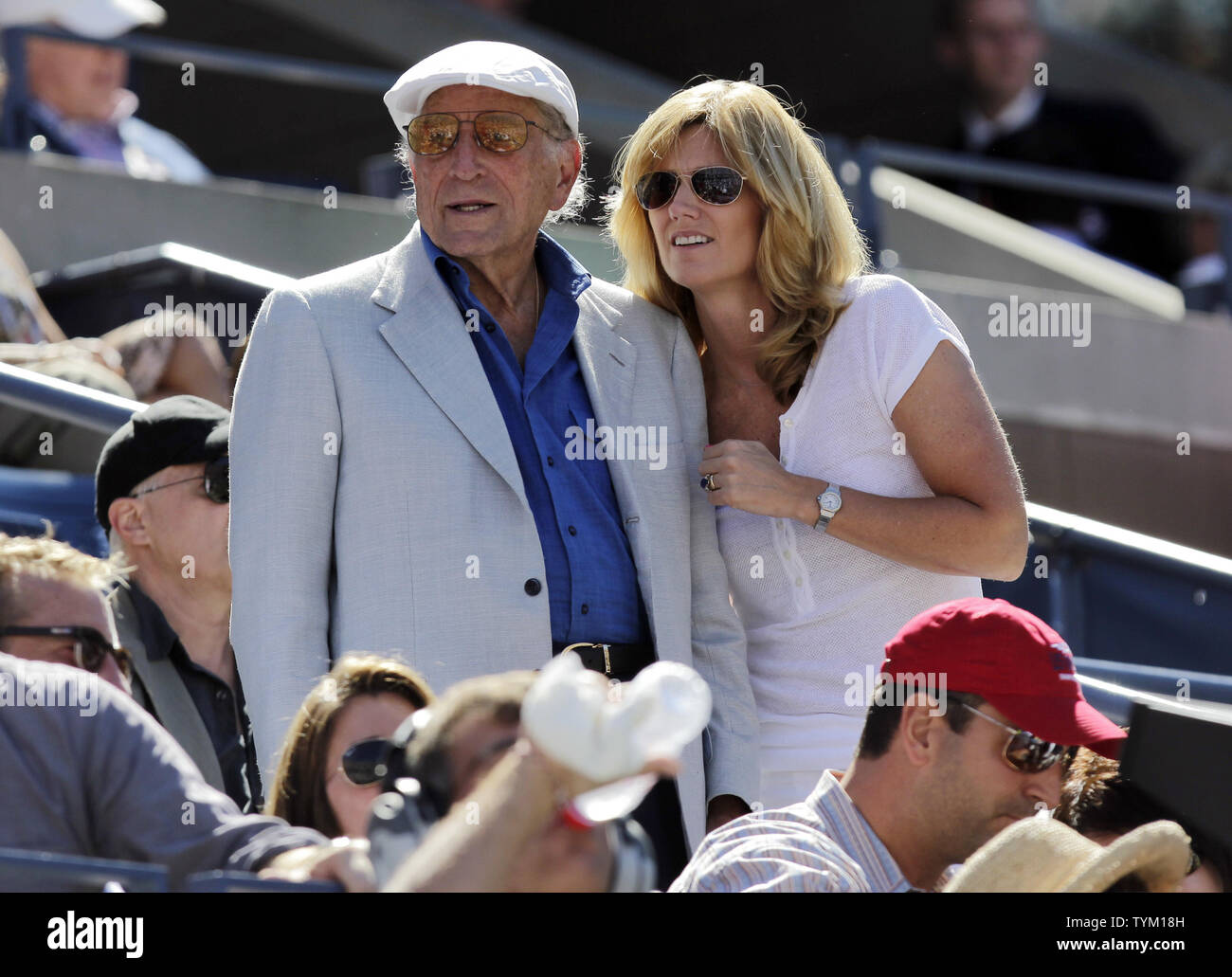Tony Bennett and Susan Crow watch a match at the U.S. Open Tennis Championships in Arthur Ashe Stadium in New York City on September 11, 2010.  UPI/John Angelillo - Stock Image