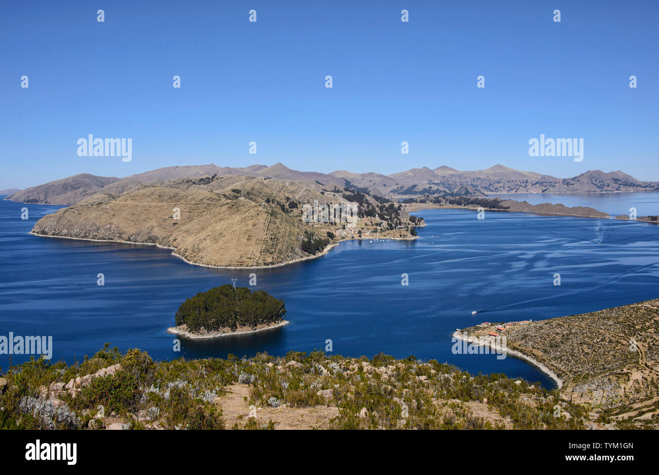 Panoramic view of Lake Titicaca from Isla del Sol, Bolivia Stock Photo