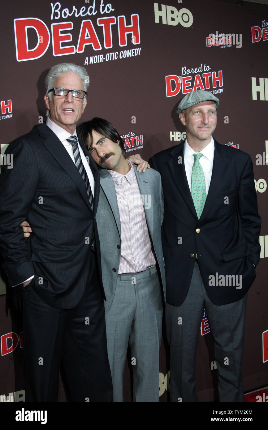 Ted Danson Jason Schwartzman And Jonathan Ames Arrive For The Premiere Of Bored To Death At The Nyu Skirball Center In New York On September 21 2010 Upi Laura Cavanaugh Stock Photo Alamy
