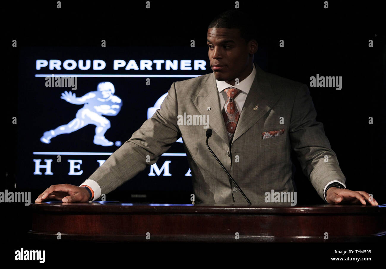 Auburn University Quarterback Cam Newton speaks to the media
