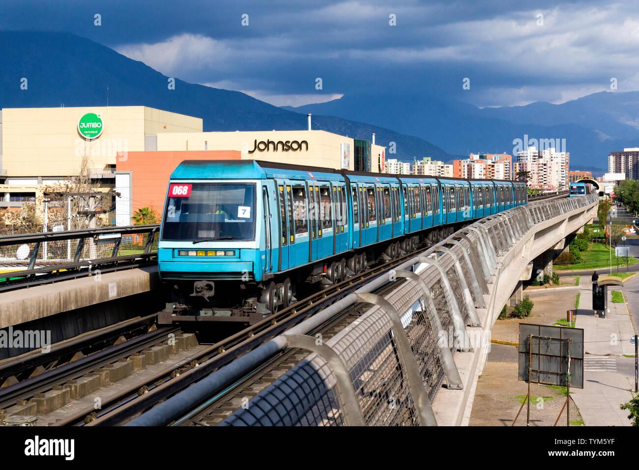 SANTIAGO, CHILE - OCTOBER 2015: Santiago Metro train entering
