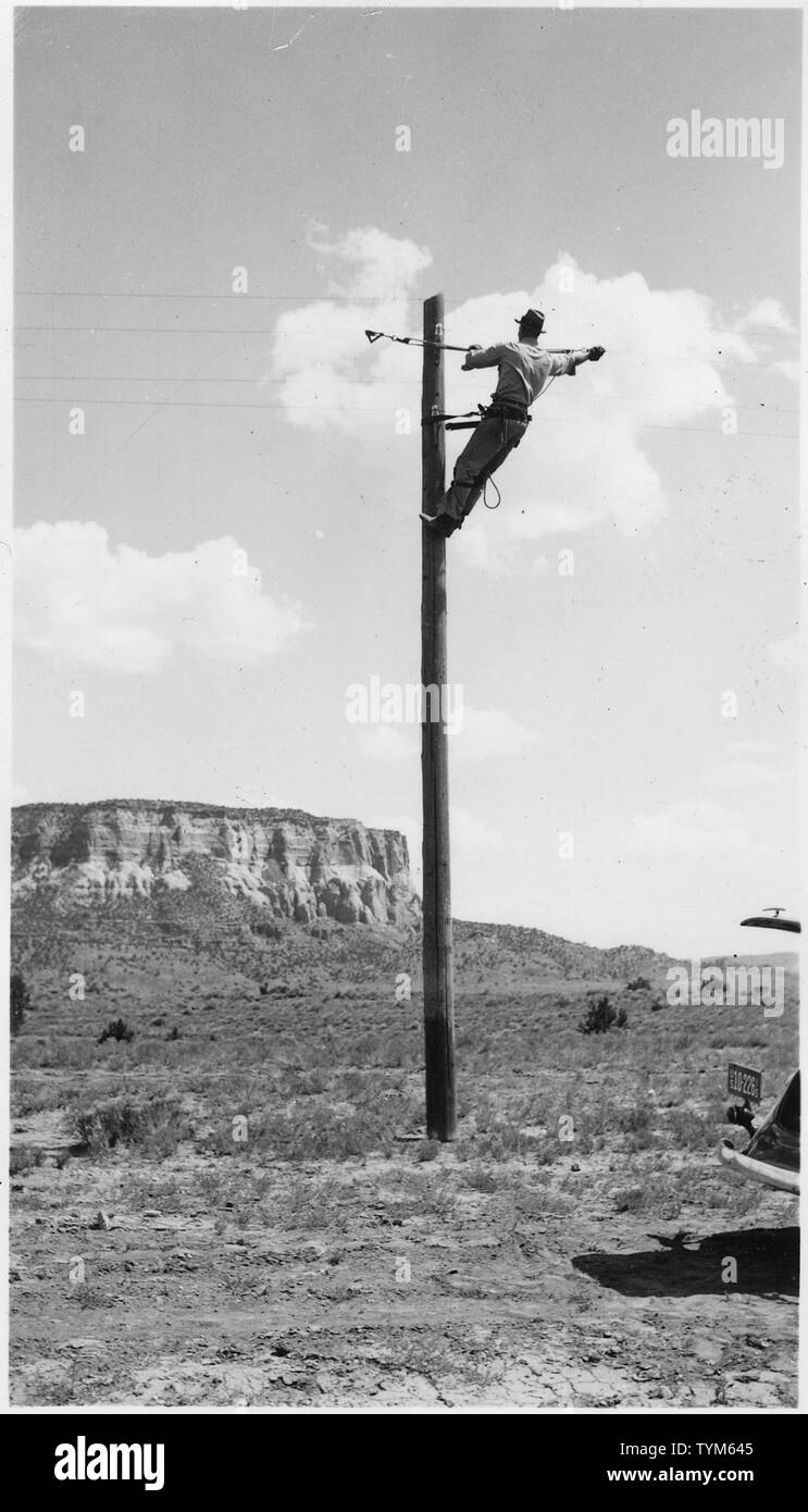 Telephone maintenance. 90 miles line maintained, and tolls collected by Forestry. - Stock Image