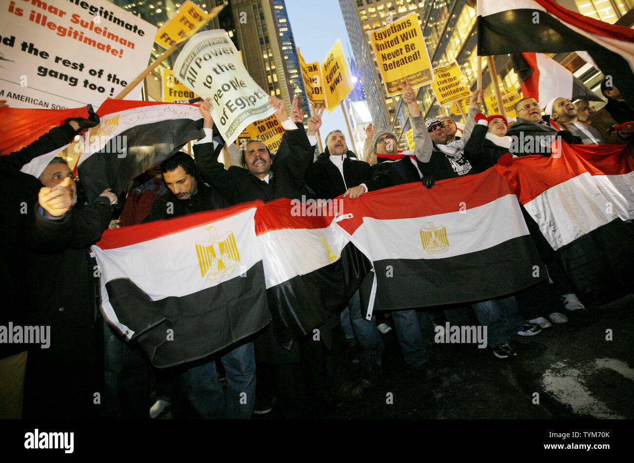 "Hundreds of Egyptian-Americans march along 42nd Street.towards the Egyptian Consulate as they protest Egyptian President Hosni Mubarak on February 4, 2011 in New York City. The demonstration coincides with a larger rally in Cairo which has been called ""the day of departure"" and follows days of protesting by Egyptians frustrated with Mubarak's leadership.     UPI /Monika Graff Stock Photo"