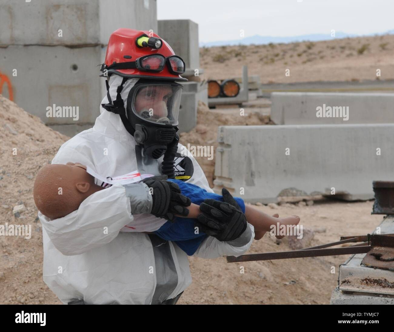 Nevada Army Guard Spc. Benjamin Vance, of the Nevada National Guard's CERFP (Chemical, Biological, Radiological, Nuclear and Explosive Enhanced Response Force Package) trains for disaster response relief on Nov. 16 during Vigilant Guard 2017 in North Las Vegas. VG 17 was the first of four joint operational disaster readiness exercises this year hosted by U.S. Northern Command. Last week's exercise involved multiple local, federal and state agencies including the city of North Las Vegas, the Nevada and California national guards and the Nevada Division of Emergency Management. Stock Photo