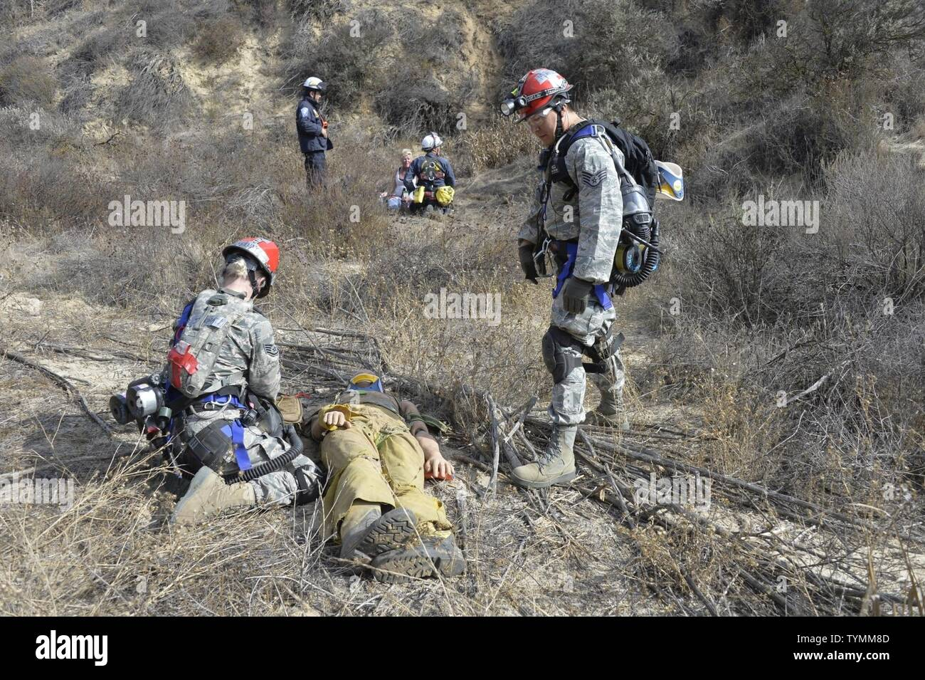 U.S. Air Force Staff Sgt. Lindsey Jennaty and Staff Sgt. Gerardo Munoz, search and extraction medics with the 144th Medical Detachment, provide aid to an injured victim at the Del Valle Regional Training Center Nov. 16, 2016 during Vigilant Guard, a disaster response exercise. The exercise took place Nov. 14-18, 2016, and called upon members of the California, Nevada and Hawaii National Guards and Federal Emergency Response Agency Region IX to respond to an earthquake in Nevada and subsequent aftershock in California. Stock Photo
