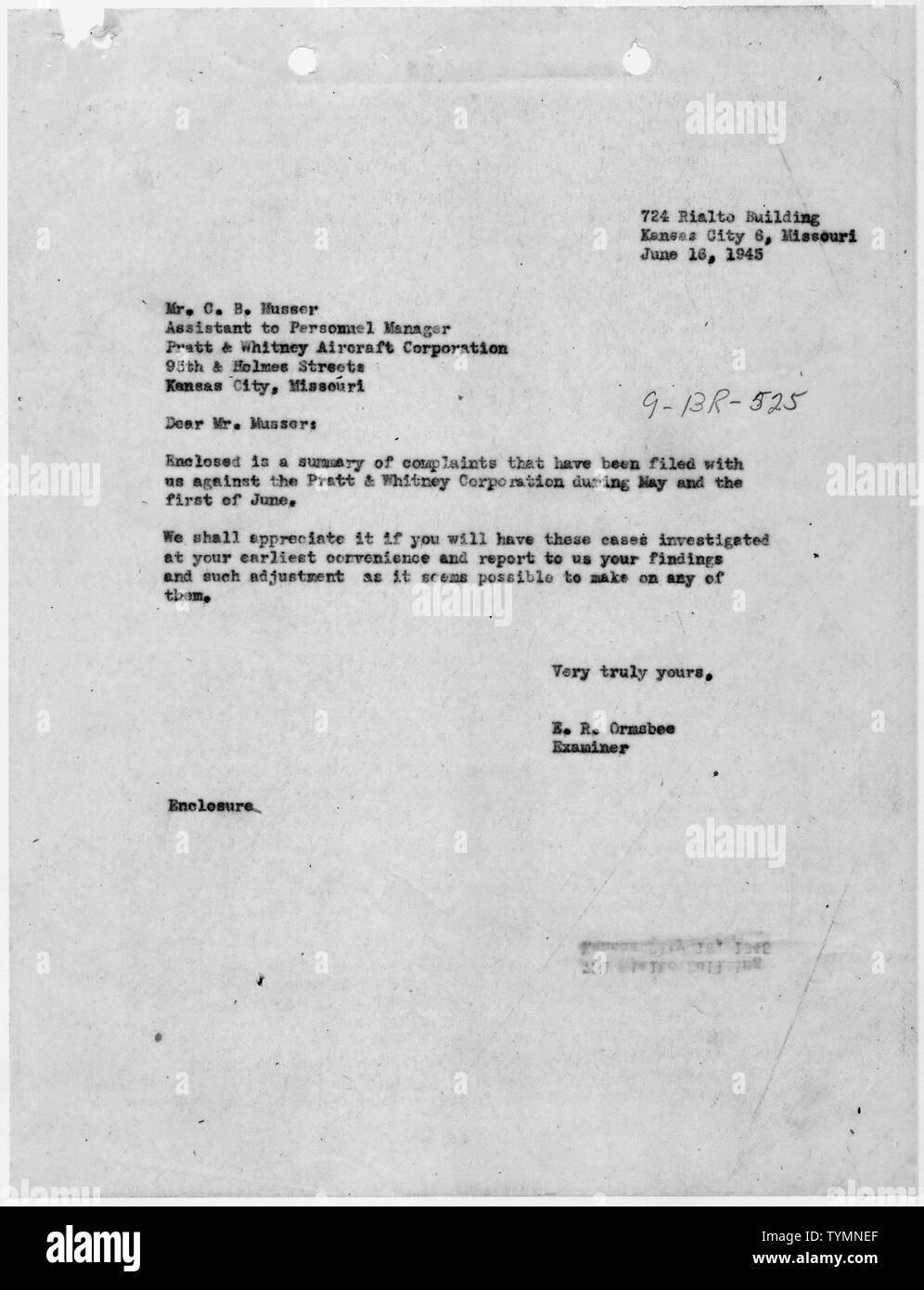 Thressa Ward [Case 9-BR-525]: E.R. Ormsbee to C.B. Musser ...