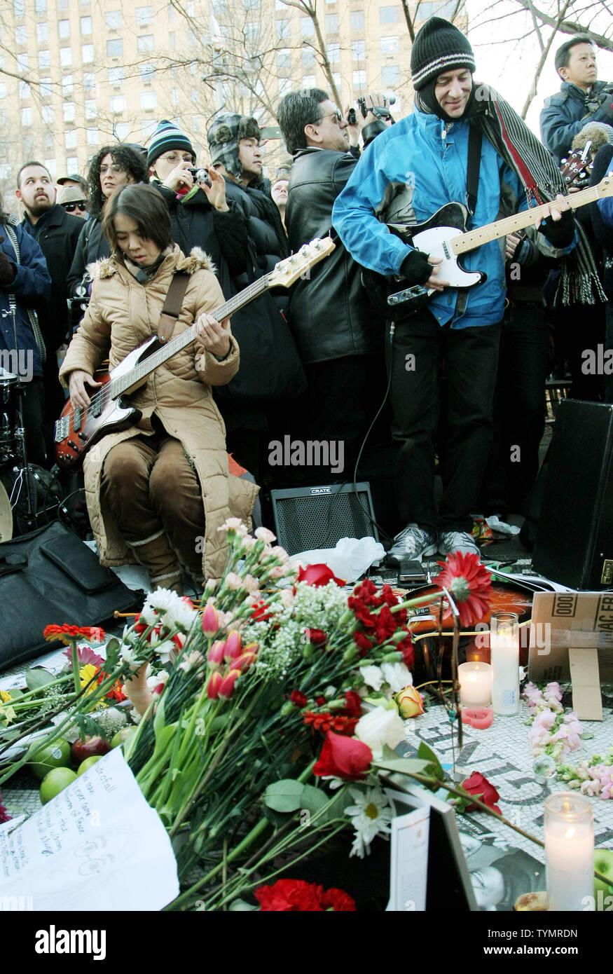 Muscians play Beatles songs as John Lennon fans gather