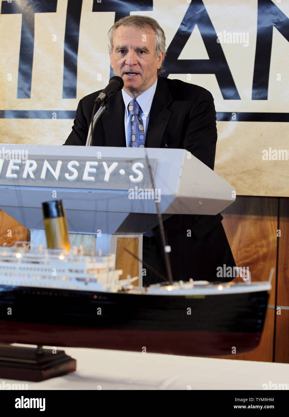 P.H. Nargeolet speaks about artifacts recovered from the wreck site of the RMS Titanic that are to be auctioned at the Intrepid Sea, Air & Space Museum in New York City on January 5, 2012. The auction will take place on April 11, 2012 on the 100 year anniversary of the ships maiden voyage and will be sold as one single collection.    UPI/John Angelillo - Stock Image