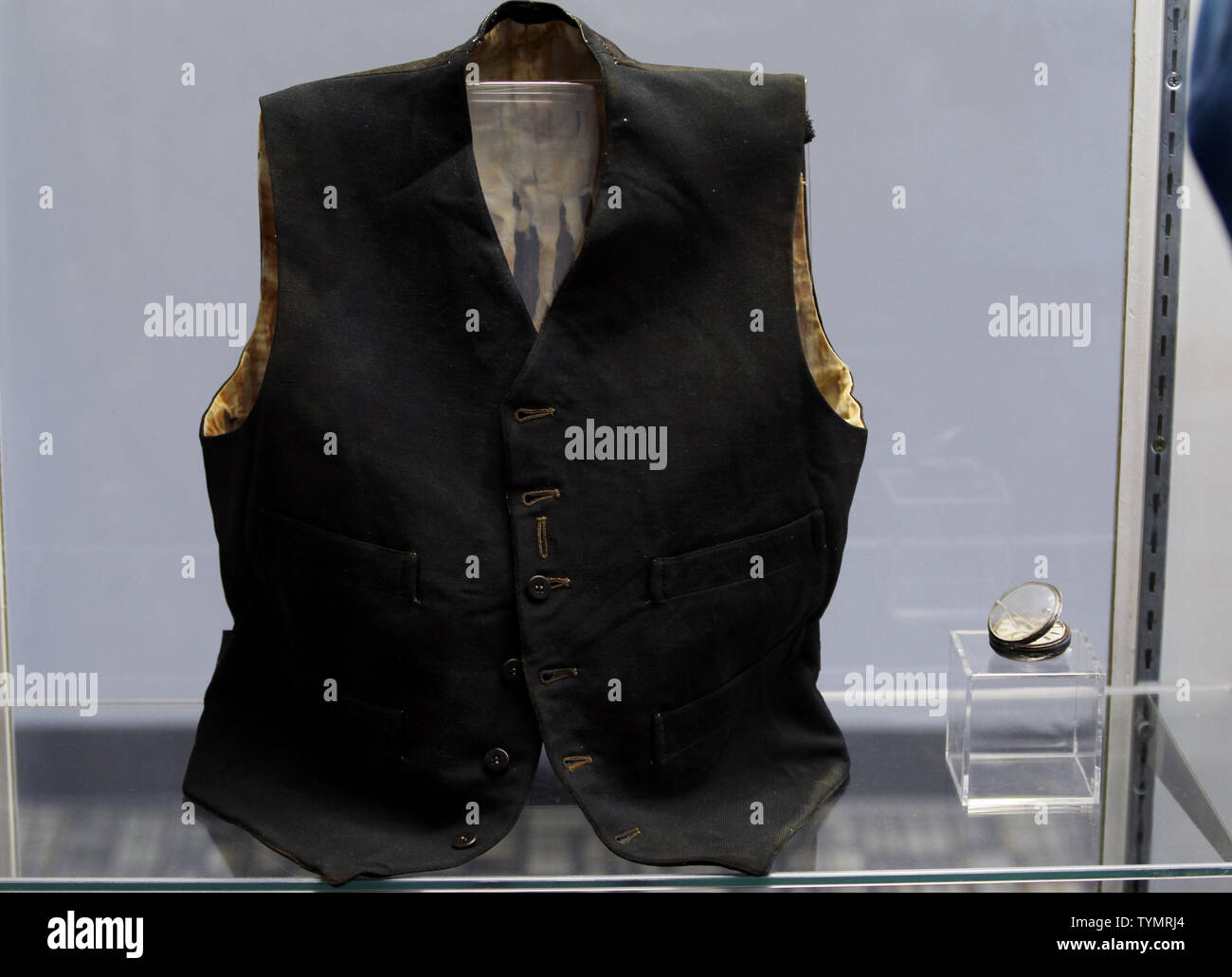 Artifacts recovered from the wreck site of the RMS Titanic are on display at the Intrepid Sea, Air & Space Museum before being auctioned in New York City on January 5, 2012. The auction will take place on April 11, 2012 on the 100 year anniversary of the ships maiden voyage and will be sold as one single collection.    UPI/John Angelillo - Stock Image