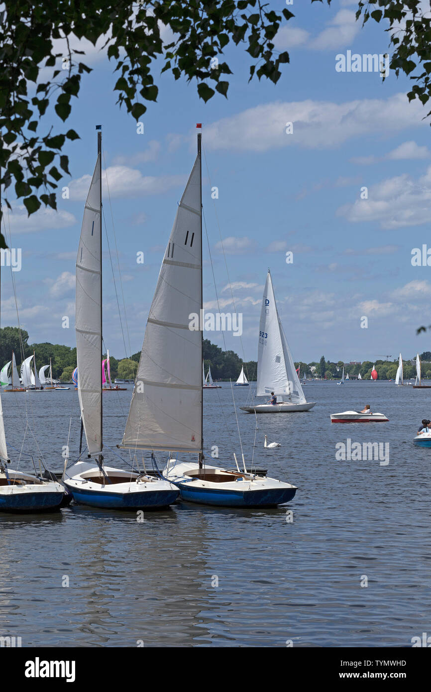 sailing school, Outer Alster, Hamburg, Germany Stock Photo