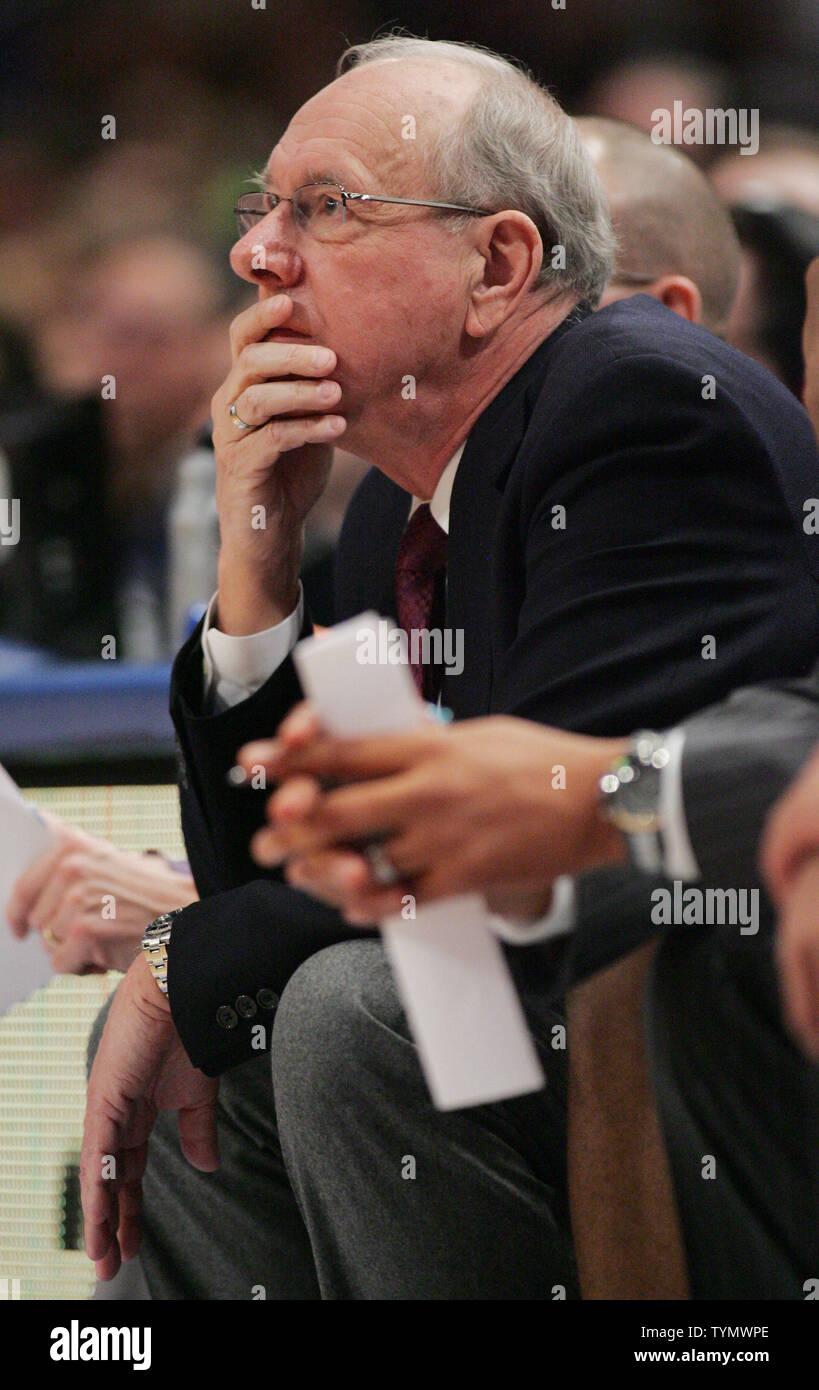Syracuse Head Coach Jim Boeheim Watches As His Team Takes