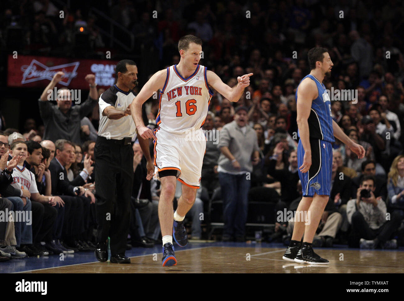 cheaper 126db bba22 New York Knicks Steve Novak reacts after hitting a 3-point ...