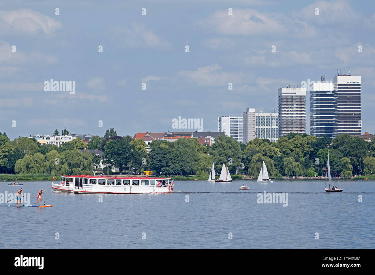 shipping traffic on  Outer Alster, Hamburg, Germany - Stock Image