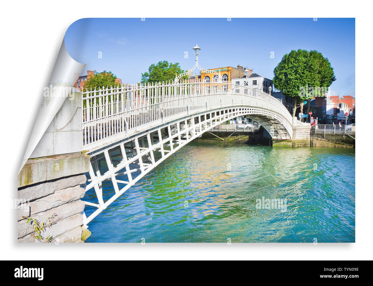 The most famous bridge in Dublin called 'Half penny bridge' due to the toll charged for the passage - curl and shadow design - Stock Image