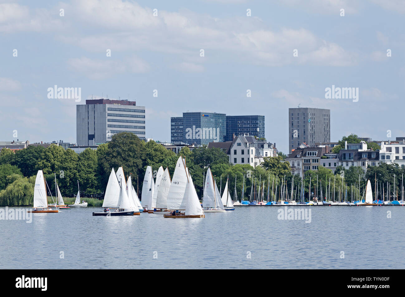 sailing boats on Outer Alster, Hamburg, Germany - Stock Image