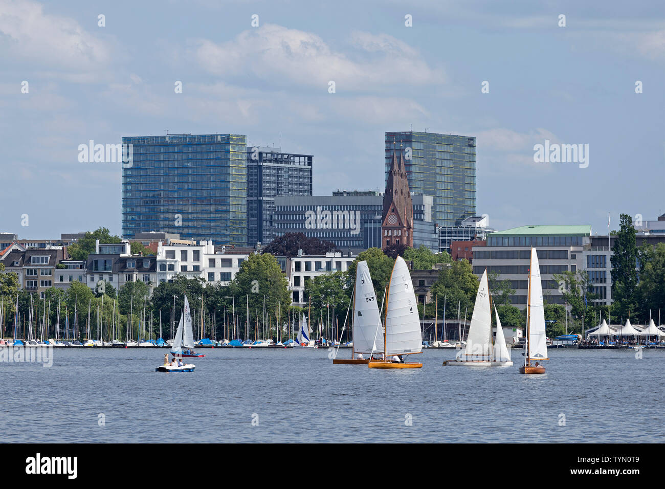 Outer Alster, Hamburg, Germany - Stock Image