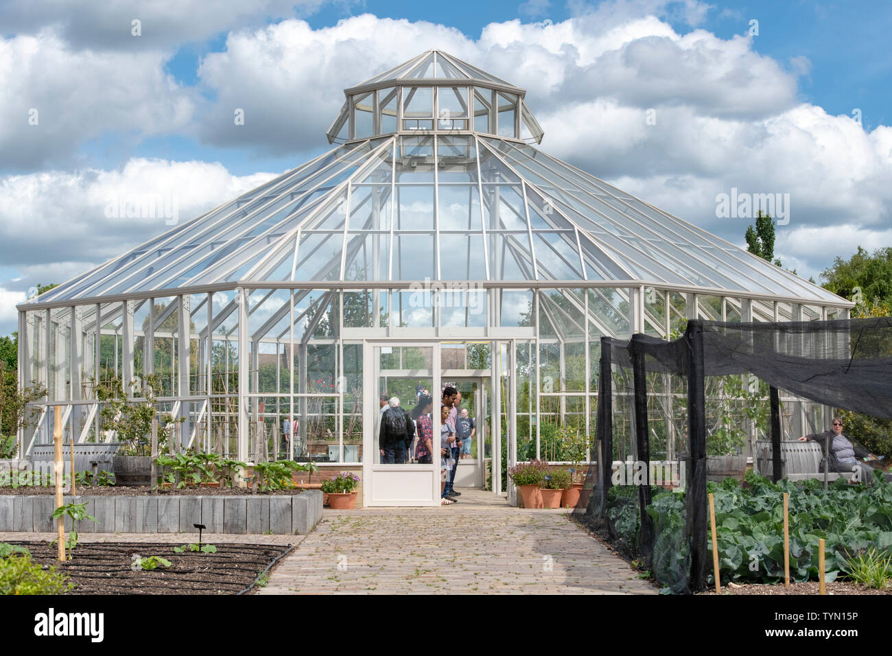 Octagonal glasshouse in the global growth garden RHS Hyde hall, Chelmsford, Essex, England - Stock Image
