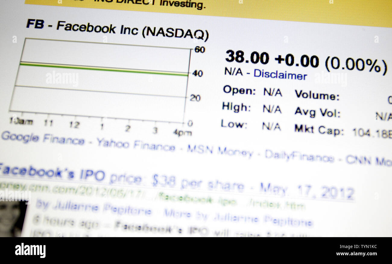 Financial stock quoting web sites list Facebook and its