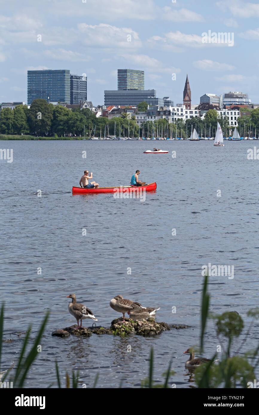 Außenalster, Hamburg, Deutschland   Outer Alster, Hamburg, Germany - Stock Image