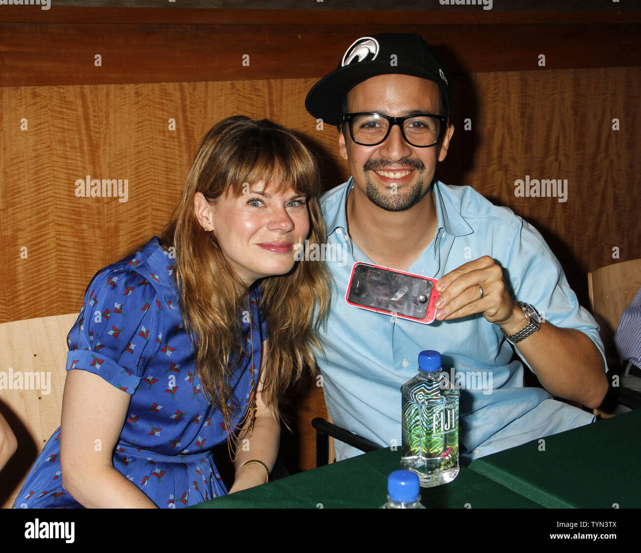Lin-Manuel Miranda and Celia Keenan-Bolger from the cast of 'Merrily We Roll Along' attends CD signing at Barnes & Noble in New York on July 10, 2012.       UPI /Laura Cavanaugh - Stock Image