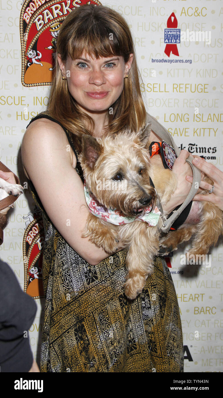 Celia Keenan-Bolger attends the Broadway Barks 14th Annual Animal Adoption Event in Shubert Alley in New York on July 14, 2012.       UPI /Laura Cavanaugh - Stock Image