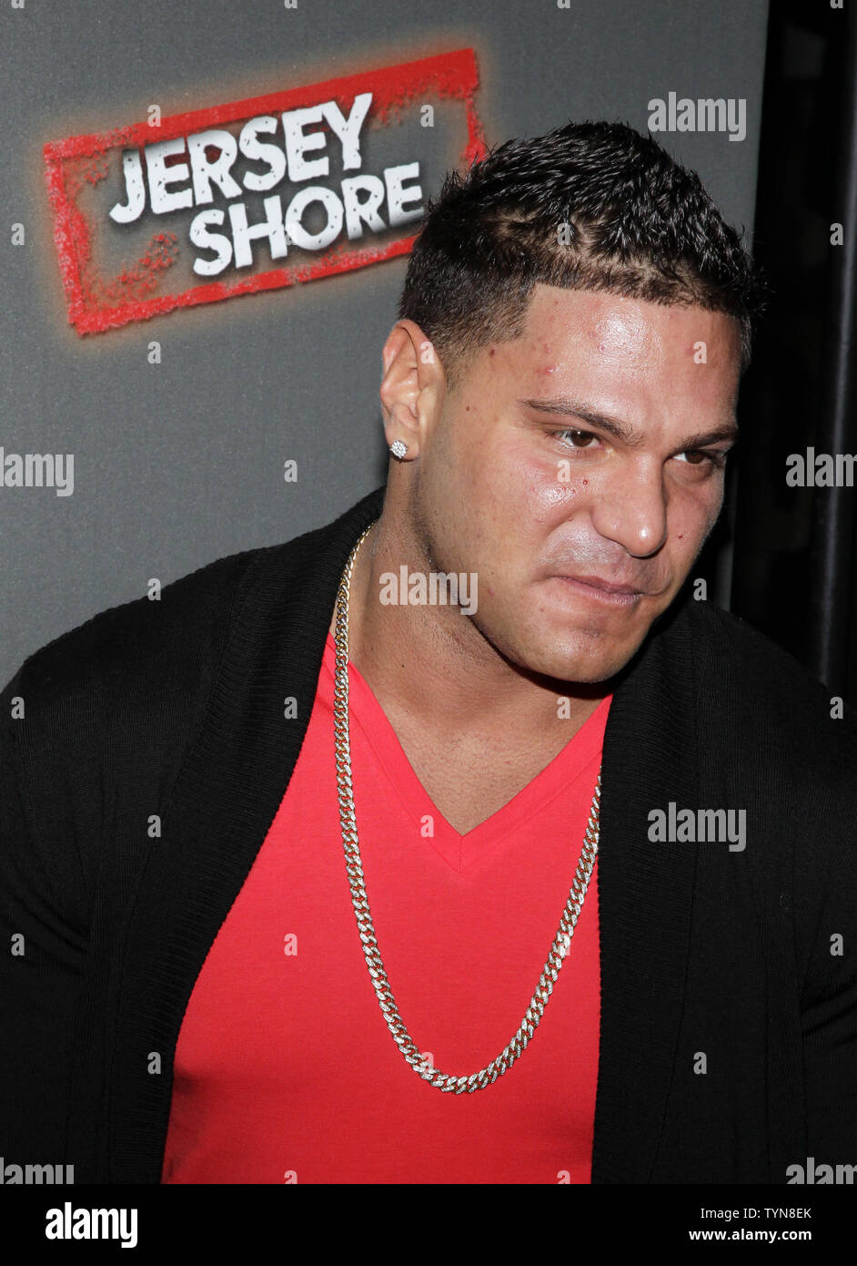 Ronnie Ortiz-Magro arrives on the red carpet for the 'Jersey Shore' Final Season Premiere at Bagatelle in New York City on October 4, 2012.       UPI/John Angelillo Stock Photo